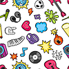 Vektor Cliparts: Music party kawaii nahtlose Muster. Musical