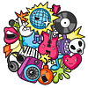 Vektor Cliparts: Music party kawaii Entwurf. Musikinstrumente,