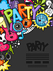 Vektor Cliparts: Music party kawaii Hintergrund. Musical