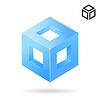 Векторный клипарт: Изометрические куб логотип с отверстиями