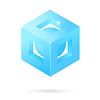 Векторный клипарт: Изометрические перфорированная куб логотип