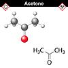 Векторный клипарт: Ацетон модель и химическая формула