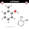 Векторный клипарт: Крезола молекула, орто-крезол изомер