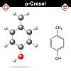 Векторный клипарт: Крезола молекулы, пара-крезол изомер