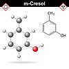 Векторный клипарт: Крезола молекулы, мета-крезол изомер