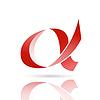 Векторный клипарт: Красный альфа письмо