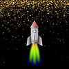 Weltraumrakete. Starten von Spacectaft