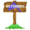 Векторный клипарт: Нет Рыбалка деревянный знак