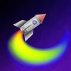 Векторный клипарт: Космическая ракета на фоне голубого неба