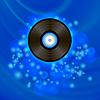 Векторный клипарт: Ретро виниловый диск на синем фоне