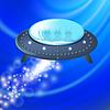 Векторный клипарт: Spaceship на синем фоне