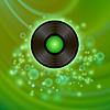 Векторный клипарт: Ретро виниловый диск на зеленом фоне