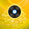 Векторный клипарт: Ретро виниловый диск на желтом фоне
