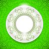 Векторный клипарт: Керамические декоративные пластины на зеленом фоне