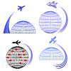 Векторный клипарт: Набор Самолет иконки