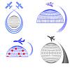 Векторный клипарт: Набор Самолет иконки. Летний отпуск