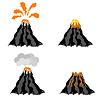 Vulkan Ausbrechen Gipfel des Berges. Fiery-Krater