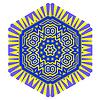 Векторный клипарт: Творческий Декоративные Синий Желтый шаблон