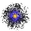 Vektor Cliparts: Sharp Partikel fliegen in zufälliger Reihenfolge in Luft