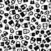 Vektor Cliparts: Reihe von Sperren Silhouetten nahtlose Muster