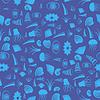 Vektor Cliparts: Sea Shell nahtlose Muster. Quallen Hintergrund