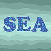 Vektor Cliparts: Shell Silhouette Dekorative Letters Sea