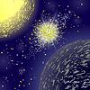 Vektor Cliparts: Gelb-Explosion auf Blue Space Star Background