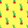 Vektor Cliparts: Grüner Kaktus Seamless Pattern