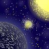 Vektor Cliparts: Big Flash Explosion auf Blue Space Hintergrund