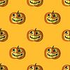 Vektor Cliparts: Halloween-Kürbis-Lächeln-nahtloses Muster