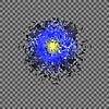 Vektor Cliparts: Blaue Explosion Wolke von Grey Pieces