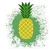 Vektor Cliparts: Frische reife Ananas auf Grün Splatter