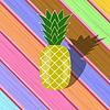 Vektor Cliparts: Frische reife Ananas auf Bunte Planks