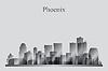 Phoenix-Stadt-Skyline-Silhouette in Graustufen