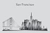 San Francisco Skyline der Stadt-Silhouette in Graustufen