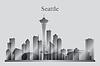 Seattle-Stadt-Skyline-Silhouette in Graustufen | Stock Vektrografik