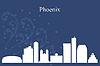 Phoenix-Stadt-Skyline-Silhouette auf blauem Hintergrund