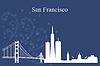 San Francisco Skyline der Stadt-Silhouette auf blauem