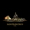 Gold-Silhouette von San Francisco