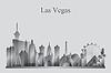 Векторный клипарт: Лас-Вегас город небоскребов силуэт в оттенках серого