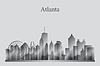 Atlanta Skyline der Stadt Silhouette in Graustufen