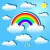 Облака и радуга | Векторный клипарт