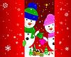 Zwei Schneemänner Grußkarte