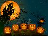 Векторный клипарт: Хэллоуин тыквы в ночное время