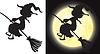 Векторный клипарт: Witch`s силуэт - Хэллоуин характера