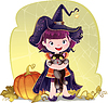 For Halloween with little cute witch, cat and pum | 向量插图