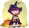 für Halloween mit kleinen niedlichen Hexe, Katze und pum