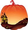 Векторный клипарт: Хэллоуин Двойной фон экспозиции с привидениями