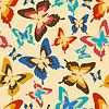 Векторный клипарт: Стильный бесшовные модели с разноцветными бабочками