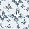 Векторный клипарт: Бесшовные с белым цветом - серые бабочки 3d